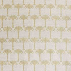Marrakech Palm - Gold - Rows of small beige coloured palm trees printed on very pale grey-white coloured fabric made from linen and cotton