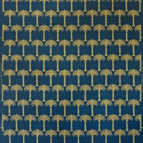 Marrakech Palm - Midnight Blue - Elegant marine blue coloured linen and cotton blend fabric behind a design of rows of small, sandy gold pal