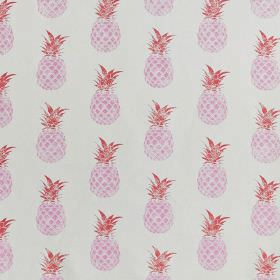 Pineapples - Pink and Red on Cream - White linen and cotton blend fabric printed with rows of fun pineapples printed in light and dark shade