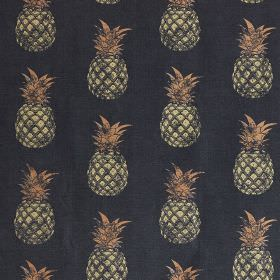 Pineapples - Gold on Charcoal - Pinkish beige, cream and midnight blue-grey coloured linen and cotton blend fabric, printed with fun pineapp
