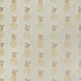 Pineapples - Gold on Natural - Linen and cotton blend fabric made in very pale grey, printed with rows of small, fun cream and light brown p