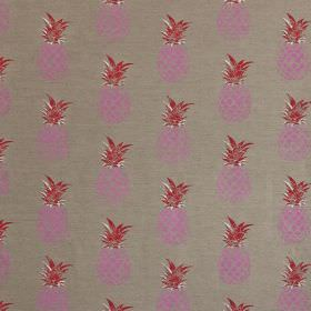 Pineapples - Pink and Red on Natural - Pineapple print linen and cotton blend fabric, with a bright pink and red design on a steel grey back