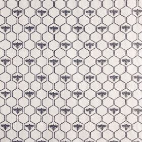 Honey Bees - Charcoal - Dark blue bees and hexagons on a very pale grey coloured fabric background