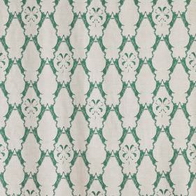 Boxing Hares - Green - Jade coloured fabric printed with rows of ornate shapes in a flat white colour