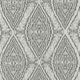 Water Diamond - Ash - Various shades of grey making up a detailed, patterned diamond design on fabric blended from different materials