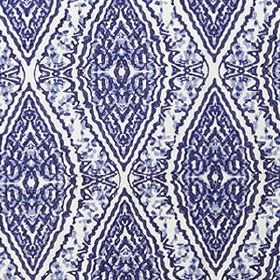 Water Diamond - Indigo - Very detailed patterns decorating large diamond shapes on blended fabric made in white, black and rich blue shades