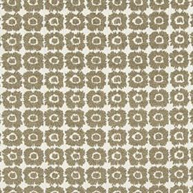 Gilded Blossom - Bronze - Grey-brown and white coloured fabric blended from several different materials, featuring rows of small, simple flo