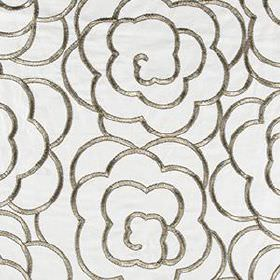 Magnolia Petal - Brass - Large, swirling, sophisticated florals made in a metallic pewter colour on white fabric blended from various materi