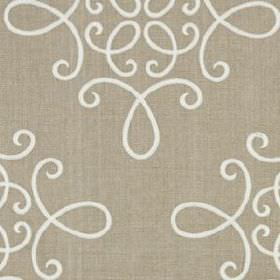 Crown Scroll - Natural - Stone coloured linen and polyester blend fabric behind simple swirling white lines creating a sophisticated pattern