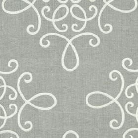 Crown Scroll - Stone - Fabric made from white and light grey coloured linen and polyester, featuring an elegant design of simple swirling li
