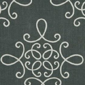 Crown Scroll - Titanium - Elegant patterns made up of simple, swirling white lines on graphite grey coloured linen and polyester blend fabri