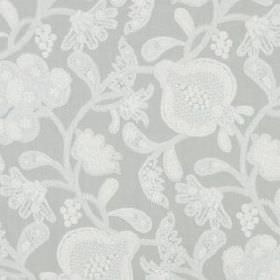 Elan Garden - Stone - Detailed, stylised floral and leaf patterns covering viscose and cotton blend fabric in two similar pale shades of gre
