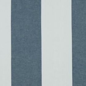 Hampton Stripe - Indigo - Denim blue and very pale blue coloured block stripes running vertically down 100% linen fabric