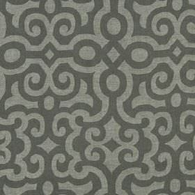 Le Chateau - Java - Simple, smart, elegant patterns of curving, swirling lines printed on 100% linen fabric in two dark shades of grey