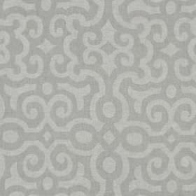 Le Chateau - Stone - Fabric made from 100% linen, with curving lines creating a subtle, smart pattern in two different light shades of grey