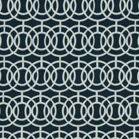 Crosby - Indigo - Fabric blended from various materials, with a stylish concentric, overlapping circle pattern in classic black and white