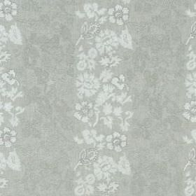 Marais Fleur - Stone - Light grey linen, rayon and metallic fabric featuring rows of floral and leaf patterns in an even paler shade of grey