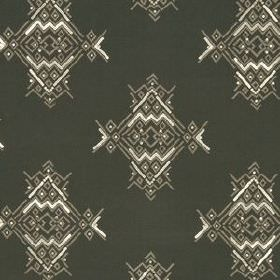Maroc Anchor - Java - Ethnic style geometric patterns printed repeatedly on fabric made from various materials in cream, charcoal and dark bro