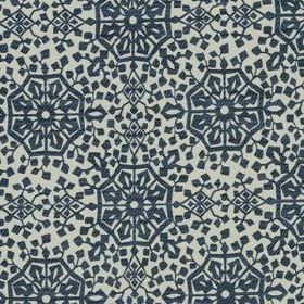 Medina - Indigo - Stylish cotton and polyamide blend fabric featuring a repeated geometric pattern in pale grey and dark midnight blue