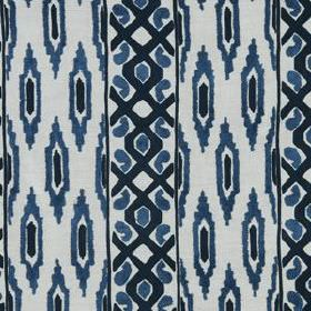 Sedona Ikat - Indigo - Grid patterned stripes and rows of ovals printed in navy and denim blue on a white linen & rayon blend fabric backgro