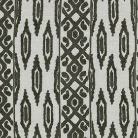 Sedona Ikat - Java - Linen and rayon blend fabric in pale grey, printed with a charcoal coloured design of ovals and grid patterned stripes
