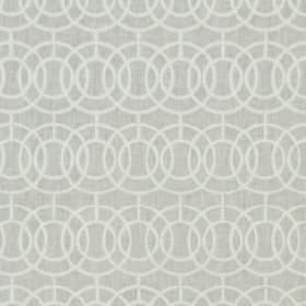Crosby - Ivory - Two pale shades of grey making up an overlapping, concentric circle pattern on fabric blended from different materials