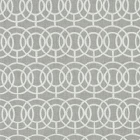 Crosby - Stone - Light grey fabric made from various different materials, printed with concentric, overlapping circles and lines in white