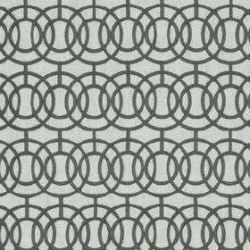 Crosby - Titanium - Concentric, overlapping circles and short lines printed in dark grey on light grey fabric made from various materials