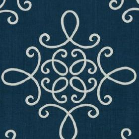 Crown Scroll - Indigo - Sophisticated midnight blue and white coloured linen and polyester blend fabric, featuring simple swirling lines