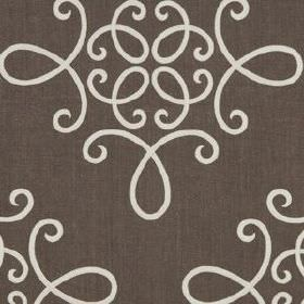 Crown Scroll - Java - Ivory coloured simple, swirling designs creating an elegant pattern on dark brown-grey linen and polyester blend fabri
