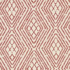 Bengal Stitch - Vermillion - Concentric, slightly patterned diamonds and grids printed in red on white fabric made from various different ma