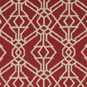 Rajouri - Vermillion - Bold ivory coloured lines creating an industrial style geometric design on blood red cotton and polyester blend fabri