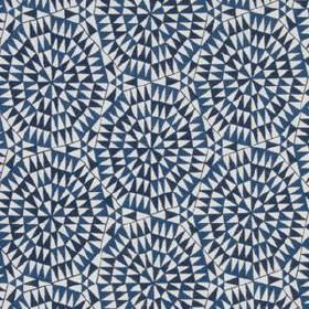 Shamiana - Indigo - Fabric made from 100% linen, featuring small triangles fitting together into a geometric design in three shades of blue