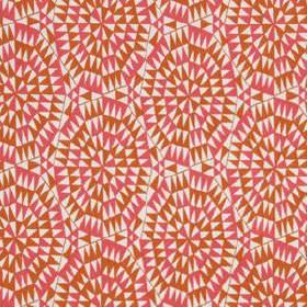 Shamiana - Marigold - White 100% linen fabric featuring a geometric design made up of tiny triangles in warm pink and orange shades