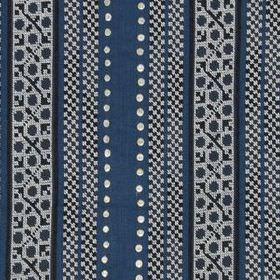 Crawford Bead - Indigo - Patterned and dotted stripes running vertically down linen, polyester and metal fabric in navy, denim blue and whit