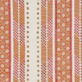 Crawford Bead - Marigold - White, pink and orange coloured linen, polyester and metal fabric made with dots and patterned vertical stripes