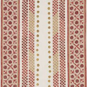 Crawford Bead - Vermillion - Linen, polyester and metal fabric in white, featuring rows of dots and patterned stripes in blush pink, beige a
