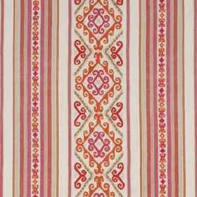 Mela Stripe - Marigold - Pale grey fabric made from 100% cotton, with warm orange and pink coloured stripes, patterns and diamonds