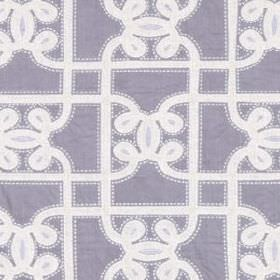 Carlyle Gate - Lavender - Linen and cotton blend fabric in lavender, behind a simple design of straight and swirling white lines