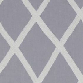 Ribbon Lattice  - Lavender - Large light purple-grey coloured diamonds arranged neatly and simply on a light grey 100% linen fabric backgrou