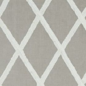 Ribbon Lattice  - Linen - Fabric made from 100% linen, featuring a large, simple diamond print pattern in two different shades of grey