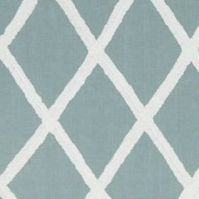 Ribbon Lattice  - Pool - 100% linen fabric made in white, printed with large, simple, neatly arranged diamonds in light dusky blue