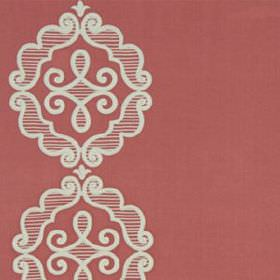 Rue Royale - Coral - Elegant striped moustache style swirls and patterns printed in pale grey on light red cotton, linen and polyester fabri