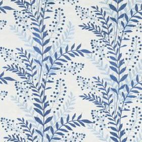 Carnegie Hill - Indigo - White linen, cotton and viscose blend fabric printed with simple leaves in icy blue and denim blue colours
