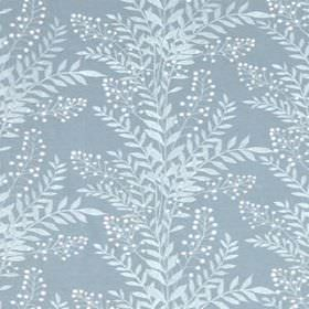 Carnegie Hill - Pool - White and two light shades of grey making up a fresh, simple leaf print pattern on linen, cotton and viscose fabric