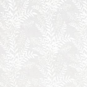 Carnegie Hill - White - Leaf print patterned linen, cottton and viscose blend fabric featuring a very subtle design in white and pale grey