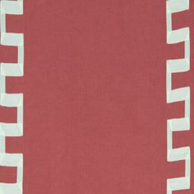 Grosgrain Key - Coral - White angular lines running vertically down dusky red coloured linen and rayon blend fabric