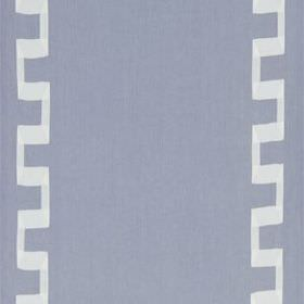 Grosgrain Key - Lavender - Light blue-grey and white coloured linen and rayon blend fabric, featuring a simple design of angular vertical li