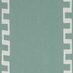 Grosgrain Key - Pool - Fabric made from light teal coloured linen and rayon, printed with angular vertical lines in a light shade of grey