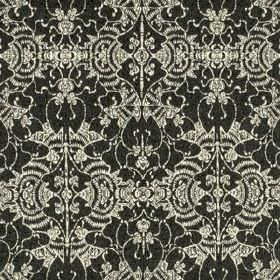 Mei Festival - Charcoal - Luxurious 100% sunbrella acrylic fabric featuring elegant, ornate silver coloured patterns over a black background